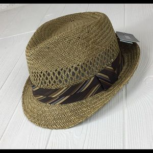 HBY Miami Straw Fedora Hat Sz Med NEW w/ tags